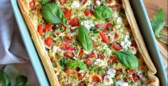 quiche met spinazie en tomaat