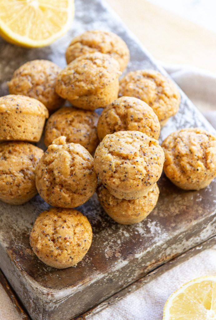 vegan mini lemon and poppyseed muffins