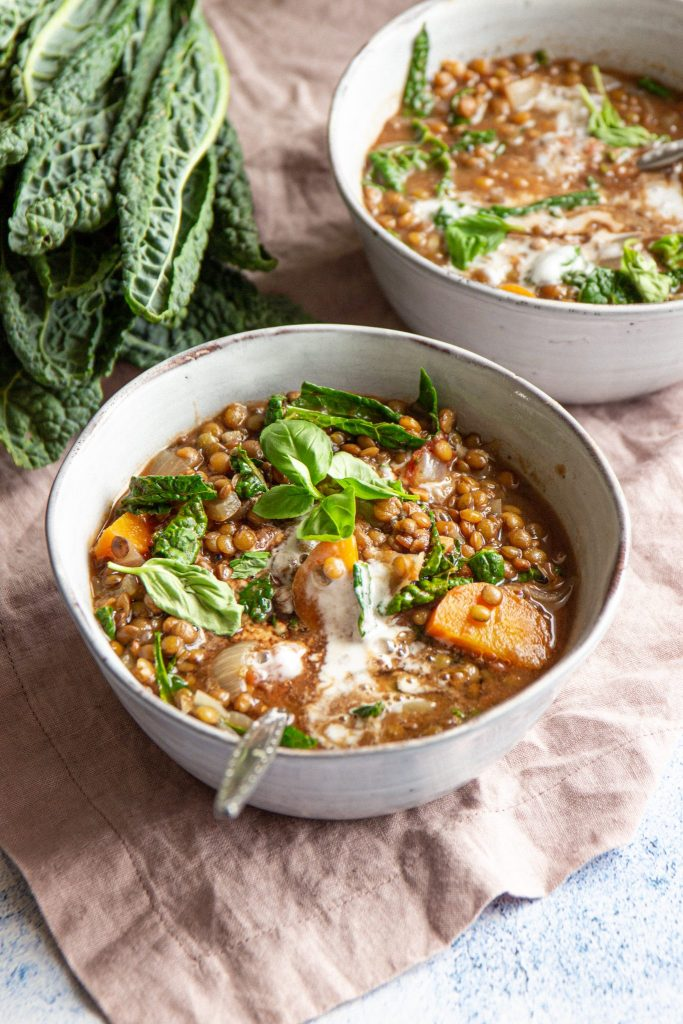 vegan lentil stew with kale and French lentils.
