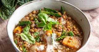 vegan lentil kale stew