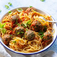 "Vegan Black Beans & Kale ""Meatballs"" Pasta"
