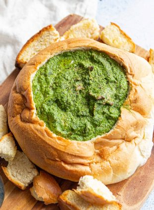 vegan cob loaf recipe spinach and vegan cheese