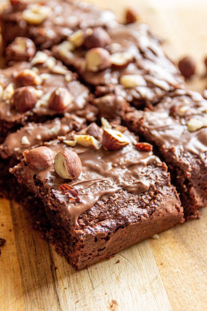 hazelnut nutella vegan brownies
