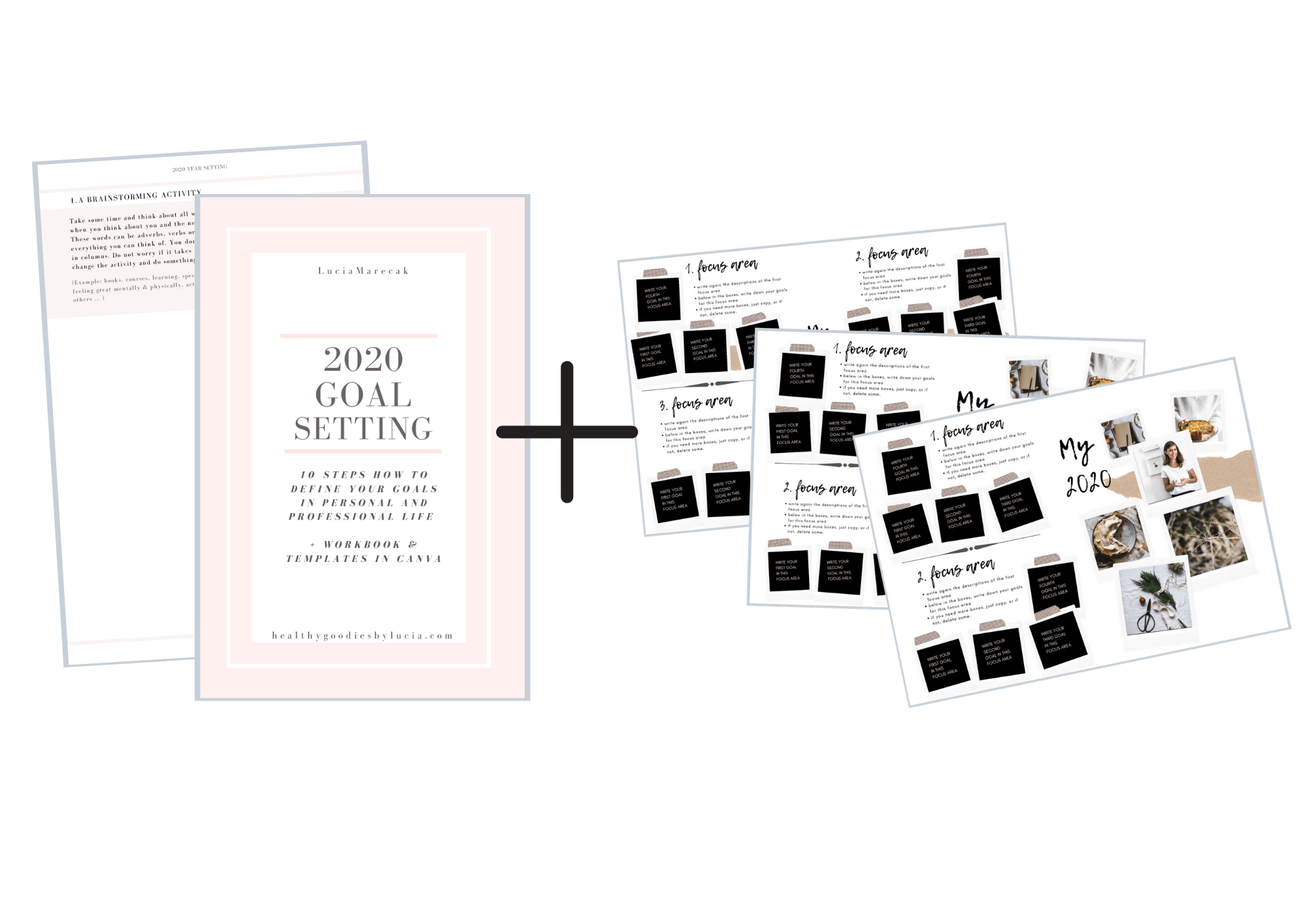 Goal Setting guide - workbook and graphic template | Healthy Goodies by Lucia