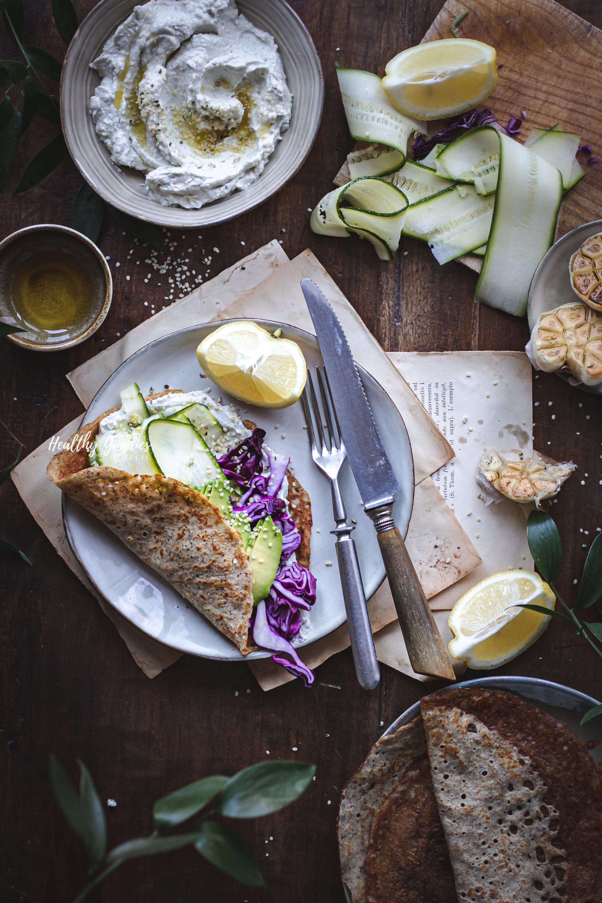 Veggie pancakes with garlic cream cheese | Healthy Goodies by Lucia Marecak