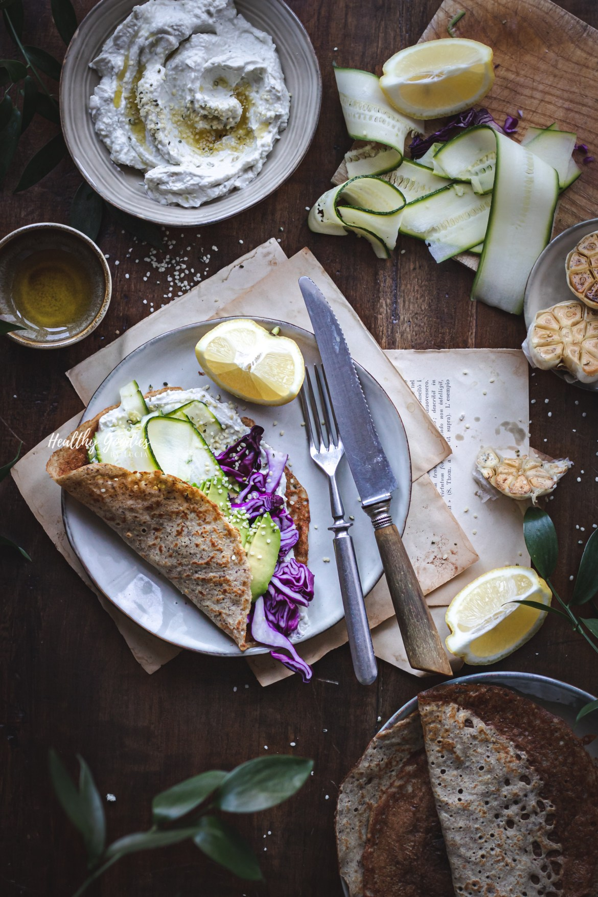 Veggie pancakes with garlic cream cheese | Healthy Goodies by Lucia Marecak