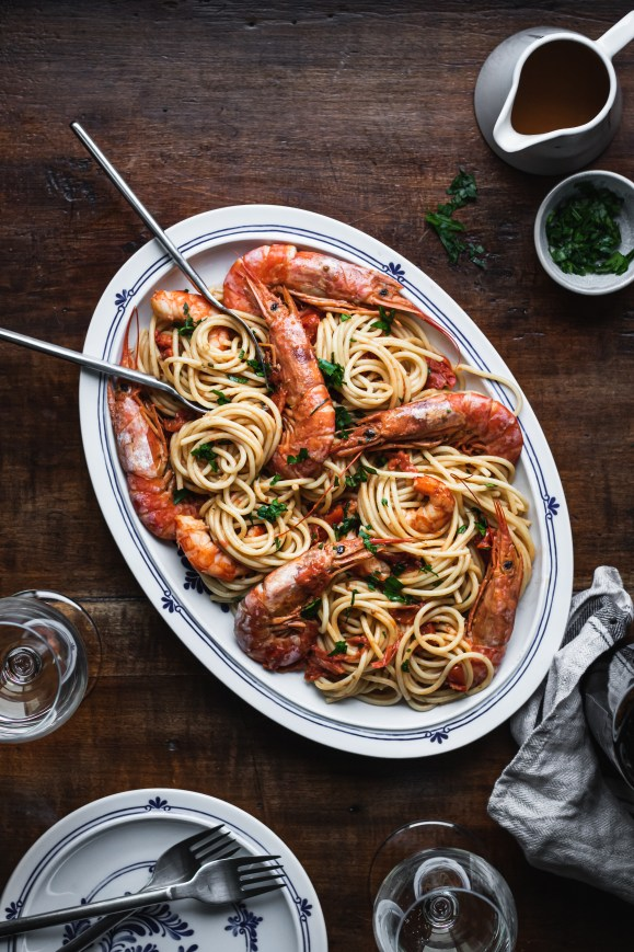 Shrimp Spaghetti recipe | Healthy Goodies by Lucia Marecak Photography