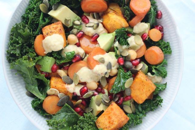 Kale-sweetpotato-salad - vegan and gluten free - www.healthyhappysteffi.com