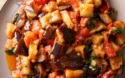 Roasted Eggplant Panzanella with Capers,Olives,and Pine Nuts