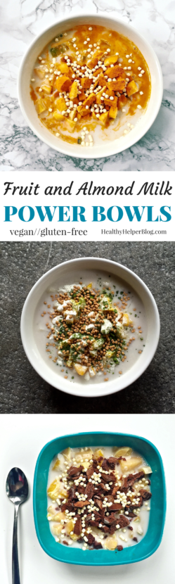 Fruit and Almond Milk Power Bowls from Healthy Helper | For a satisfying breakfast or snack, try a Fruit and Almond Milk Power Bowl! Packed with filling fiber, protein, and lots of sweet deliciousness, these bowls of yum will keep you going all day long. Vegan, gluten-free, and totally customizable to your tastes and preferences!
