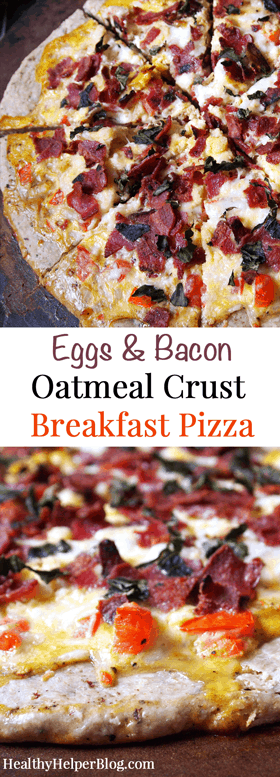 Eggs & Bacon Oatmeal Crust Breakfast Pizza