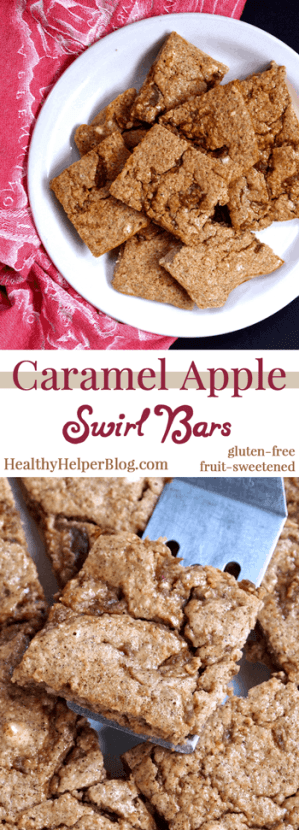 Caramel Apple Swirl Bars from Healthy Helper Blog #vegan #glutenfree #fall #seasonal #holidays #fruitsweetened #sugarfree #healthy #recipe #lowfat #apple #applerecipe
