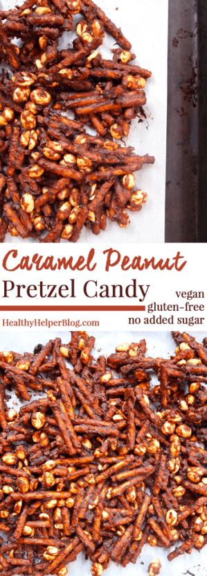 Caramel Peanut Pretzel Candy....the healthiest homemade candy ever! via HealthyHelperBlog [vegan, gluten-free, no added sugar]