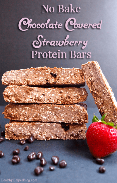 No Bake Chocolate Covered Strawberry Protein Bars via <a href=
