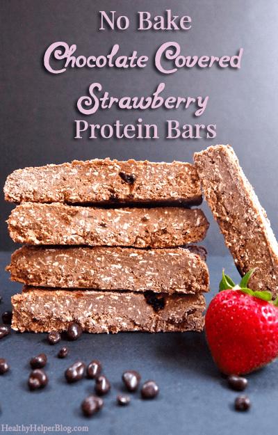 No Bake Chocolate Covered Strawberry Protein Bars via Healthy Helper Blog [gluten-free, sugar-free, healthy, snack, chocolate, easy to make, recipe, healthy food, healthy snacks, high protein]