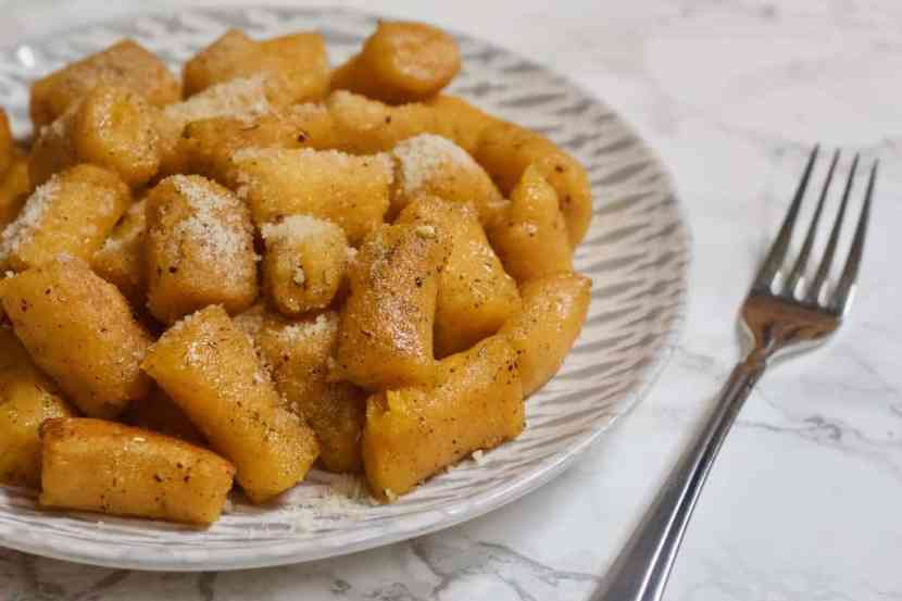 2-Ingredient Butternut Squash Gnocchi | Soft, pillowy butternut squash pasta bites with only 2 ingredients andmade from scratch! This squash-based version of classic potato gnocchiis gluten-free, egg-free, and totally vegan. Justboil water and cook for a few minutes to indulge in a dish of pasta perfection! Top with your favorite sauce or seasonings for comforting, healthy meal any time you want.