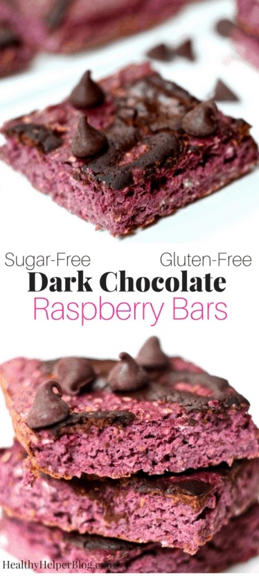 Dark Chocolate Raspberry Bars | Healthy Helper @Healthy_Helper Decadent, rich dark chocolate swirls top these soft-baked, tart raspberry bars! High in protein and gluten-free, these bars are great for quelling chocolate cravings and will fill your house with the most luxurious smell of cocoa and raspberries.