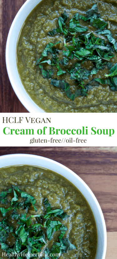 HCLF Vegan Cream of Broccoli Soup | Healthy Helper @Healthy_Helper A delicious, dairy-free version of your favorite creamy soup! This Vegan Cream of Broccoli Soup is full of vibrant veggies, jam-packed with flavor, and so rich and satisfying despite its healthy, light ingredients. Gluten-free, oil-free, and nut-free, too!