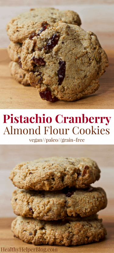 Pistachio Cranberry Almond Flour Cookies | Healthy Helper @Healthy_Helper Delightfully chewy n' light paleo cookies made with almond flour and no added sugars! Studded with sweet cranberries and salty shelled pistachios, these cookies are vegan, gluten/grain-free, and perfect for the holiday season! A healthy, delicious addition to your dessert table.