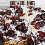 Layered Peanut Chocolate Cherry Brownie Bars [gluten-free]