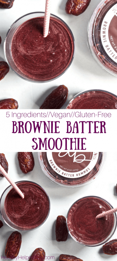 5 Ingredient Brownie Batter Smoothie | Healthy Helper @Healthy_Helper This decadent, date-sweetened Brownie Batter Smoothie is super easy to make and tastes like dessert for breakfast! Thick, creamy, and full of nutrients. It's vegan and gluten-free, too!