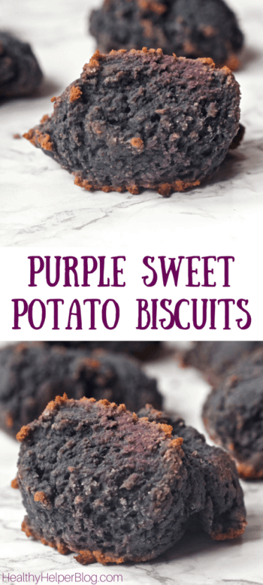 Purple Sweet Potato Biscuits   Healthy Helper @Healthy_Helper A delicious, purple twist on traditional sweet potato biscuits! These gluten-free, vegan drop biscuits are easy to make and are the perfect accompaniment to any meal. Serve them with warm butter and a drizzle of honey for a real delight!