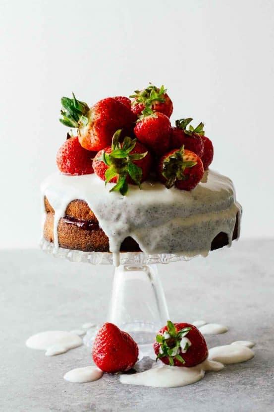 Strawberry Shortcake with Sugar-Free Glaze | Healthy Helper @Healthy_Helper