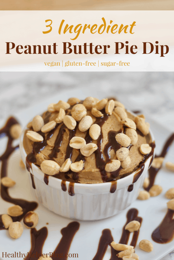 3 Ingredient Peanut Butter Pie Dip | Healthy Helper @Healthy_Helper Healthy, high protein dessert dip that tastes like your favorite pie! This 3 Ingredient Peanut Butter Pie Dip is vegan, gluten-free, naturally sweetened, and so decadent tasting. Feel good about indulging with your favorite dippers for a healthy snack or sweet treat.