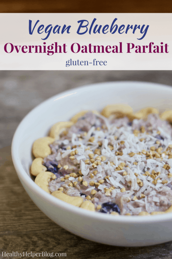 Vegan Blueberry Overnight Oatmeal Parfait   Healthy Helper @Healthy_Helper Thick n' creamy overnight oats with the sweetness of blueberries and crunchy nuts throughout! Vegan, gluten-free, and simple to make, this Blueberry Overnight Oatmeal Parfait will be your new favorite make-ahead morning meal.