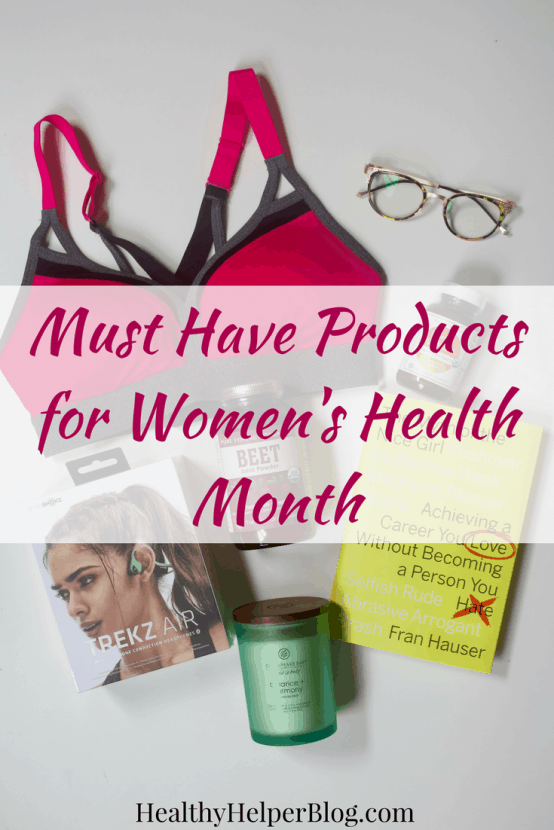 Must Have Products for Women's Health Month | Healthy Helper @Healthy_Helper A roundup of my favorite products to help you celebrate Women's Health Month. Everything you need from nutrition and supplements to apparel and fitness accessories!