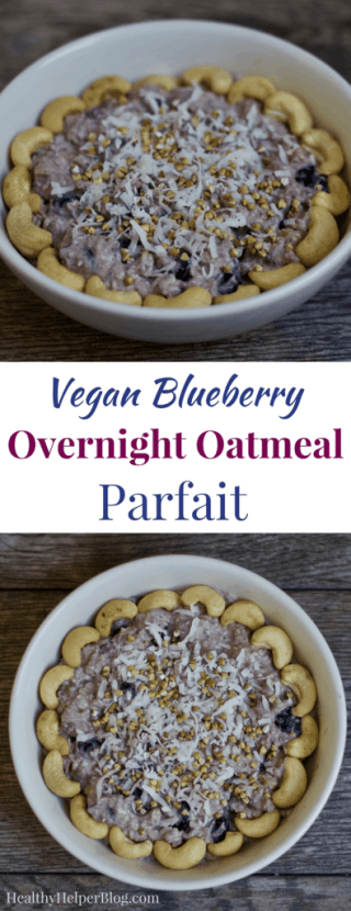 Vegan Blueberry Overnight Oatmeal Parfait | Healthy Helper @Healthy_Helper Thick n' creamy overnight oats with the sweetness of blueberries and crunchy nuts throughout! Vegan, gluten-free, and simple to make, this Blueberry Overnight Oatmeal Parfait will be your new favorite make-ahead morning meal.