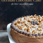Vegan Gluten-Free German Chocolate Cake | Healthy Helper The ultimate healthy chocolate cake that tastes like a traditional German Chocolate Cake. Vegan, gluten-free, and full of sweetness from medjool dates, this dessert will be a hit with the whole family whether they're vegan or not. It's also oil-free and filled with nutty goodness!
