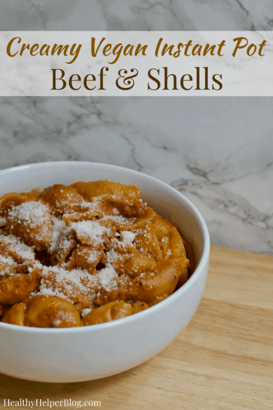 Creamy Vegan Instant Pot Beef and Shells   Healthy Helper This Creamy Vegan Beef & Shells dish is an easy one pot dinner made entirely in a pressure cooker. It's like homemade hamburger helper, with ground beef and pasta in a tomato cream sauce and very kid-friendly!