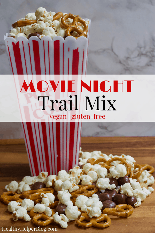 Healthy Movie Night Trail Mix | Healthy Helper A sweet and salty snack mix perfect for satisfying all your cravings while enjoying a movie with friends or family! Gluten-free, vegan, full of fiber, and a great healthy alternative to all your favorite movie snacks. This Healthy Movie Night Trail Mix will be your new go-to treat to take to the movies with you.