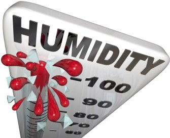 The rising humidity rate level rising on a thermometer past 100