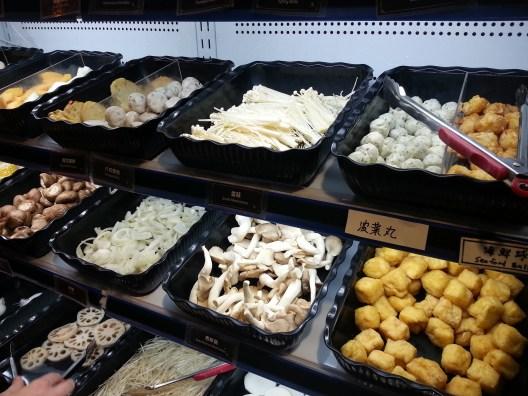 Balls, tofu, and mushrooms