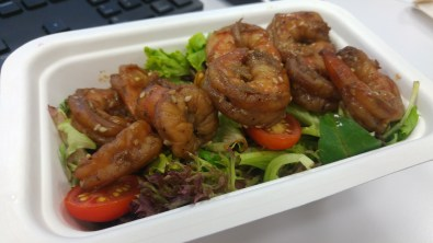 LUNCH: Sesame shrimps with salad