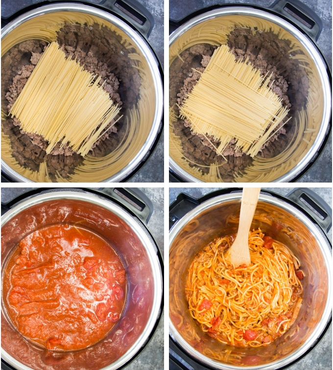 Collage of process photos showing how to make instant pot spaghetti. Image 1 shows browned meat layered with broken psata noodles. Image 2 shows a second crisscrossed layer of pasta. Image 3 shows pasta sauce being added to Instant Pot on top of noodles and meat. Image 4 show the final cooked meal being stirred in Instant Pot