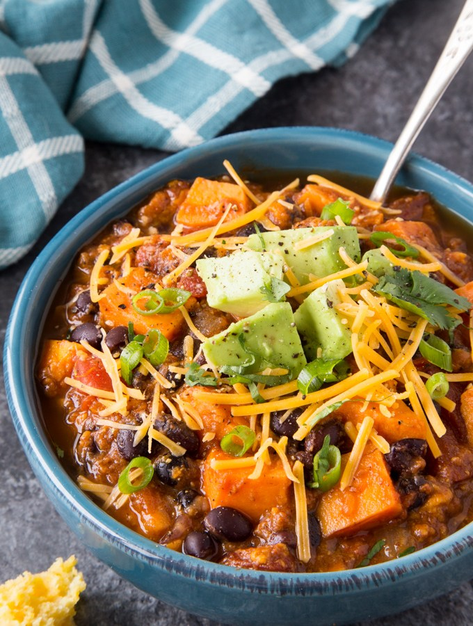 Sweet Potato+ Black Bean Chili {Instant Pot}