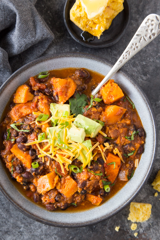 Instant Pot Vegetarian Chili with Sweet Potato and Black Beans in a grey bowl