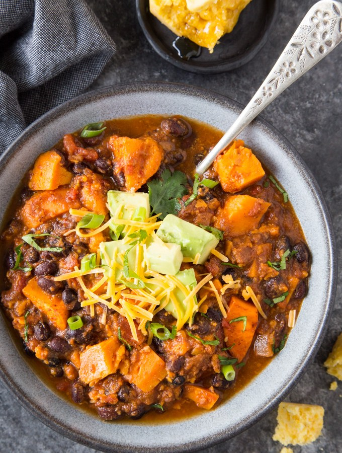 Sweet Potato + Black Bean Chili { Instant Pot}