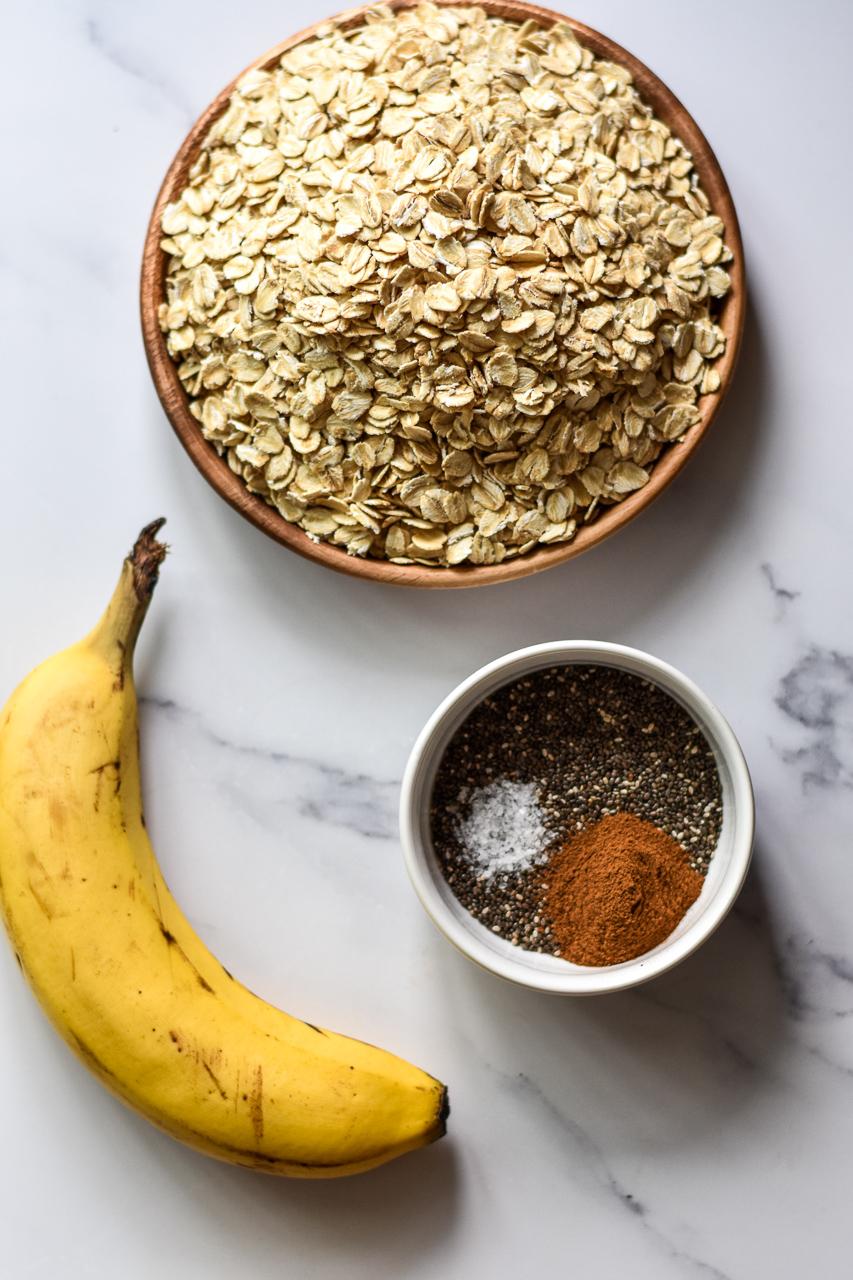 oats chia seeds and banana