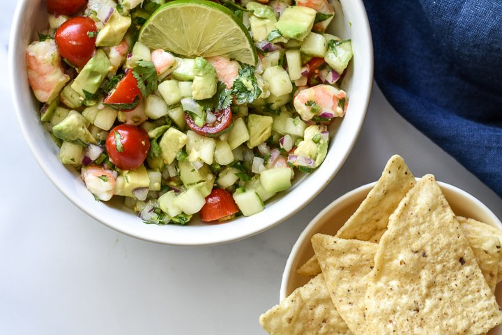 shrimp ceviche and chips