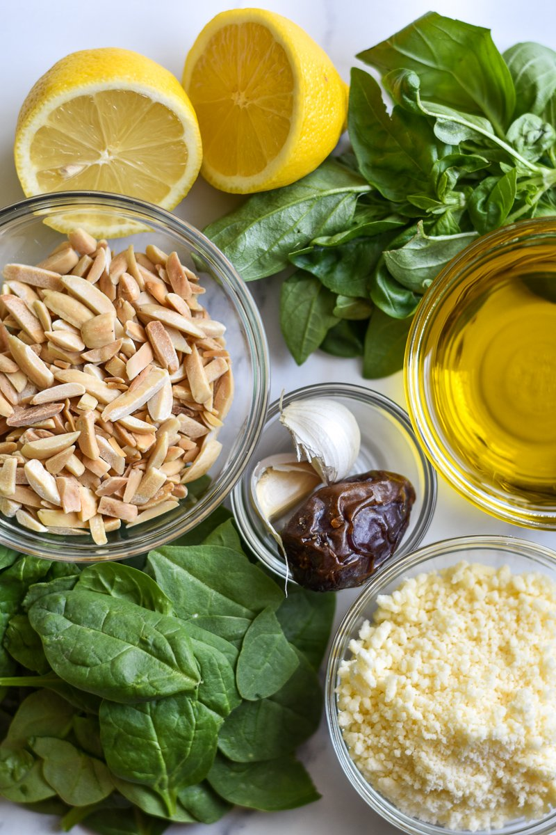 ingredients for spinach almond pesto