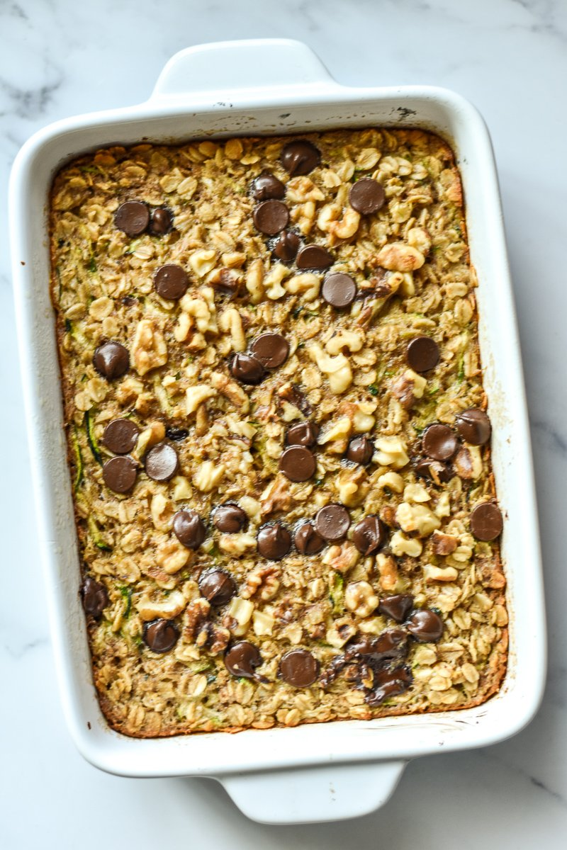 baking dish with baked oatmeal
