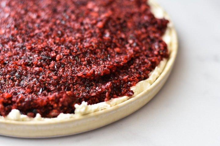jalapeno cranberry dip on a serving platter