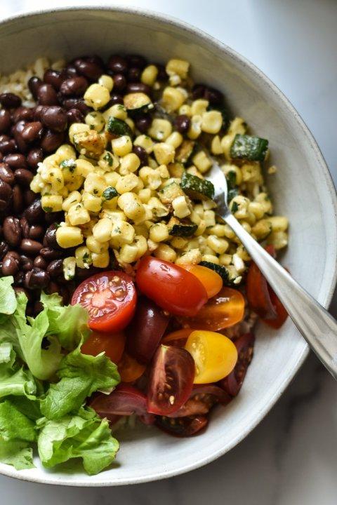 Vegetarian Burrito Bowls with Green Goddess Dressing