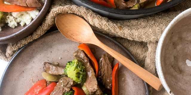 Quick Beef and Veggies with Brown Sauce & Cauliflower Rice