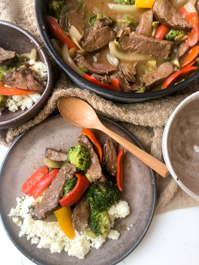 Quick Beef and Veggies with Brown Sauce & Cauliflower Rice