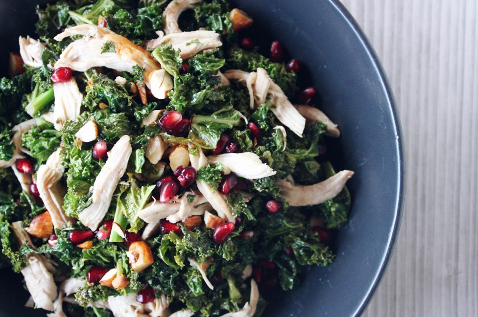 Warm Kale, Chicken and Pomegranate Salad with Onion Balsamic Dressing
